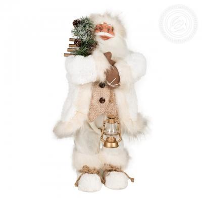 Дед Мороз в белой шубе с фонариком